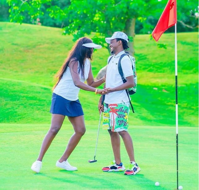 Akothee-with-Bahati-on-a-golf-course