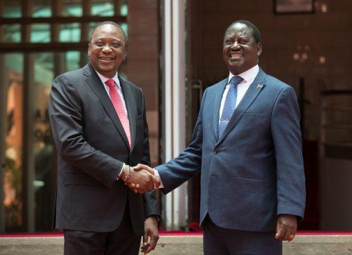 Raila Odinga greeting Uhuru Kenyatta