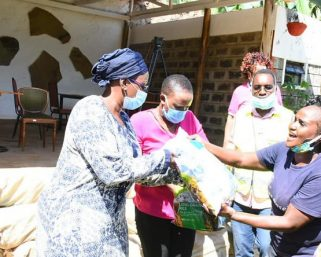 Sabina Chege donates to commercial sex workers