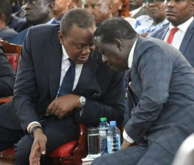 Raila Odinga with Uhuru Kenyatta