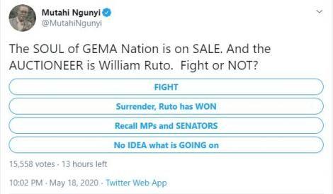 Screenshot of political analyst Prof. Mutahi Ngunyi's poll posted on Monday, May 18, 2020