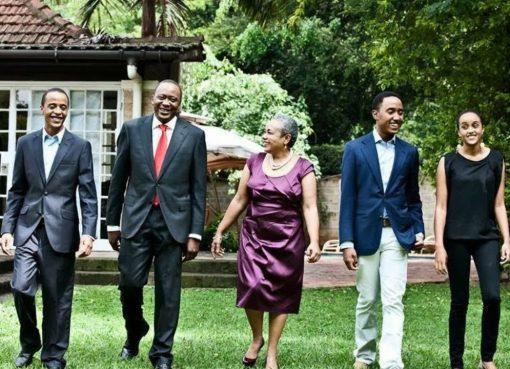 Uhuru Kenyatta with his wife and children