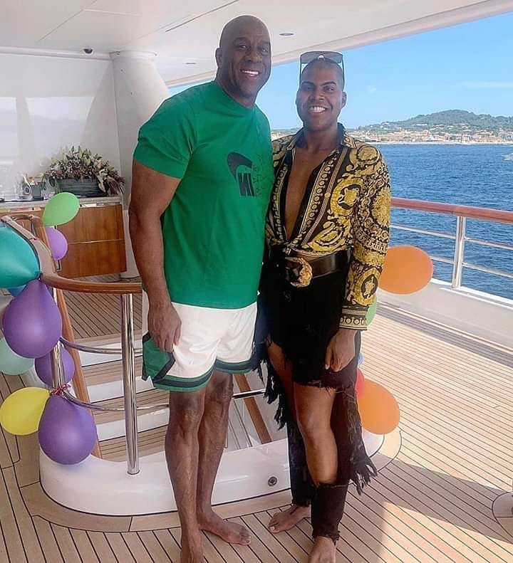 Magic Johnson with his son