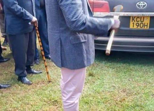 William Ruto with a rungu