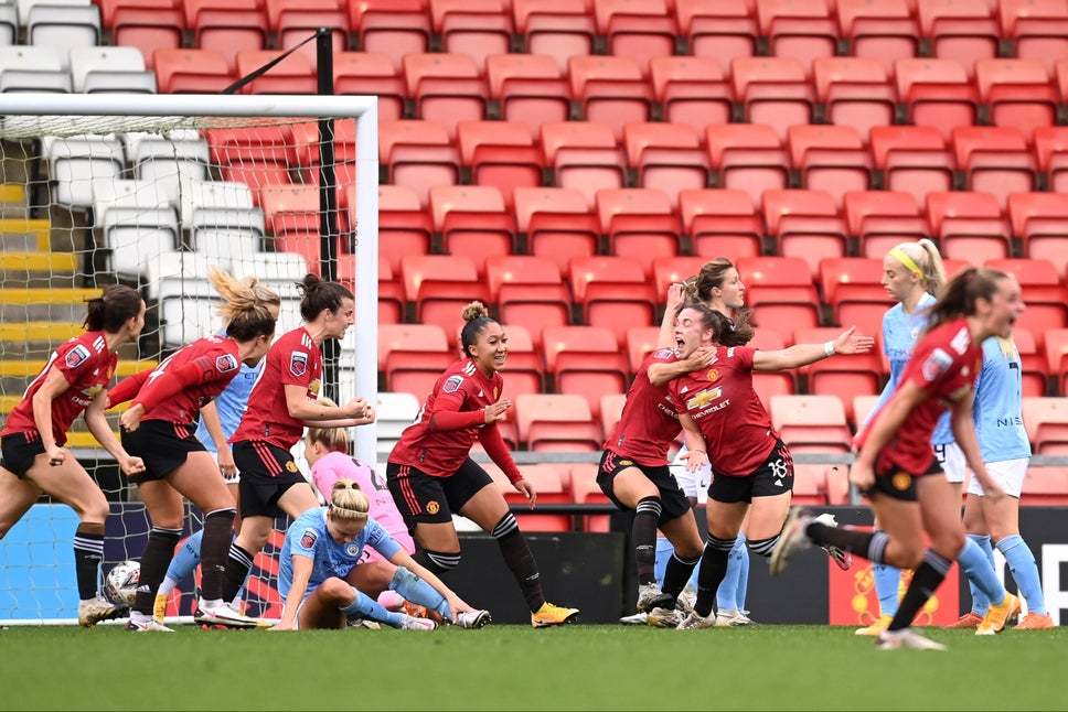 Manchester United Women Celebrating After Scoring