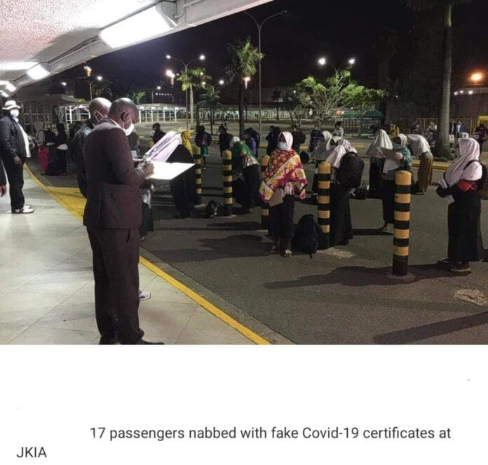 The Kenyans Who were arrested with fake Covid-19 certificates at JKIA