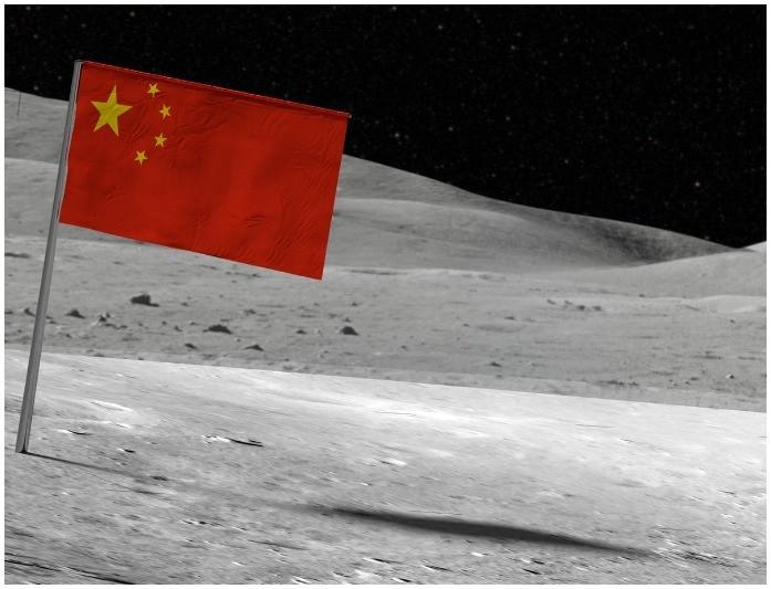 China flag on moon