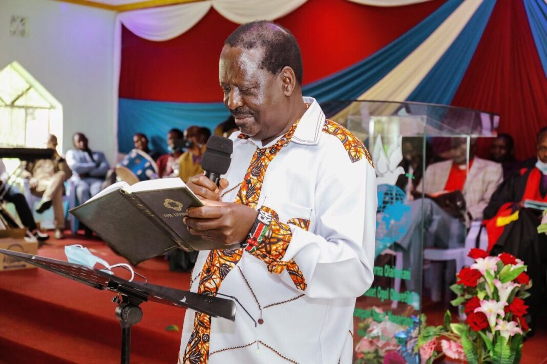 Clever Raila Outsmarts Anglican Bishop Ole Sapit After He Is Blocked From Speaking at Butere Church Function